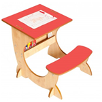 ART STATION DESK - SCRIVANIA E LAVAGNA NATURALE/RED